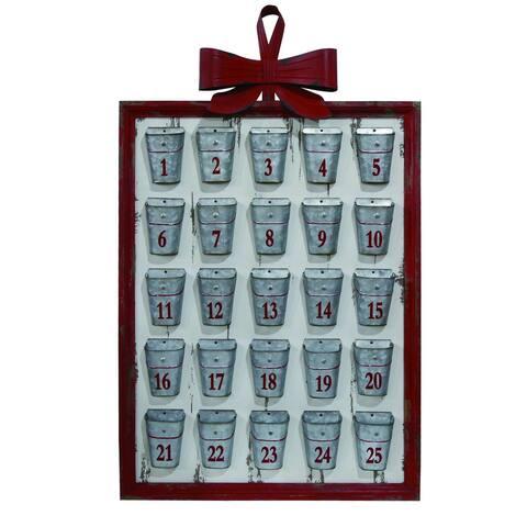 "40"" Silver Christmas Basket Framed Advent Calendar"