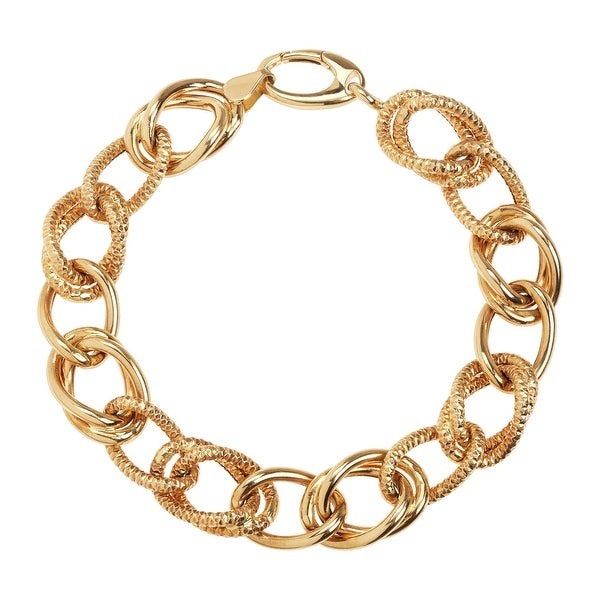 Just Gold Oval & Glitter Link Chain Bracelet in 14K Gold - Yellow