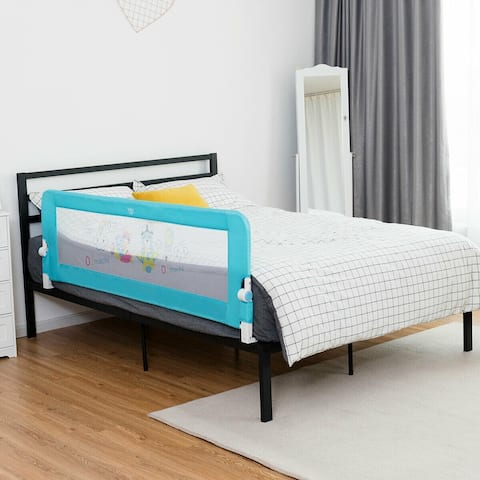 """69"""" Breathable Baby Toddlers Bed Rail Guard Safety Swing Down-Blue"""