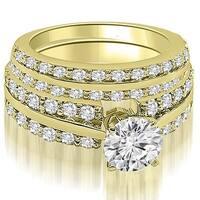 2.85 cttw. 14K Yellow Gold Two Row Round Cut Diamond Bridal Set