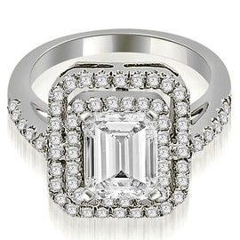 1.17 cttw. 14K White Gold Double Halo Emerald Cut Diamond Engagement Ring