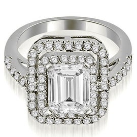 1.17 cttw. 14K White Gold Double Halo Emerald Cut Diamond Engagement Ring HI, Si1-2