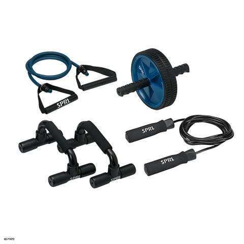 SPRI Home Gym Kit includes Jump Rope, Push-up Bars, Ab Wheel - 22.00 x 9.20 x 3.00 Inches