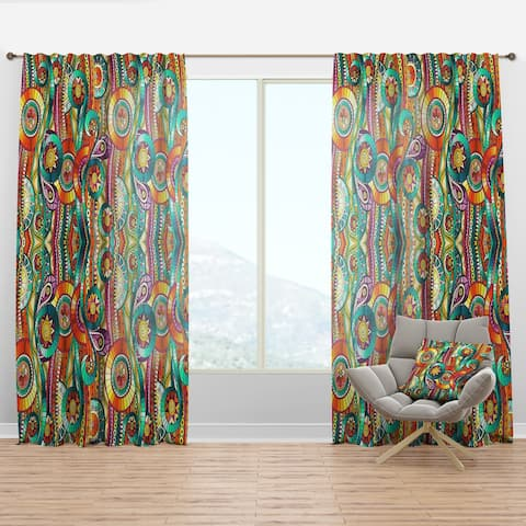 Designart 'Tribal Doddle Ethnic Pattern Mosaic Elements' Bohemian & Eclectic Curtain Panel