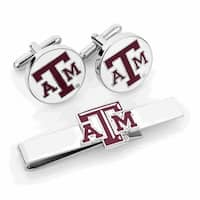Texas A and M Aggies Cufflinks and Tie Bar Gift Set - Red