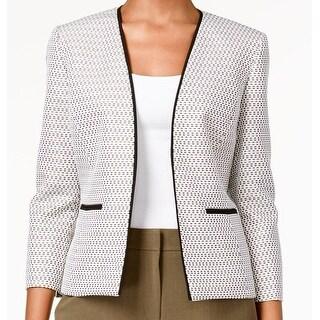 Kasper NEW Brown White black Tweed Career Women's Size 12 Jacket
