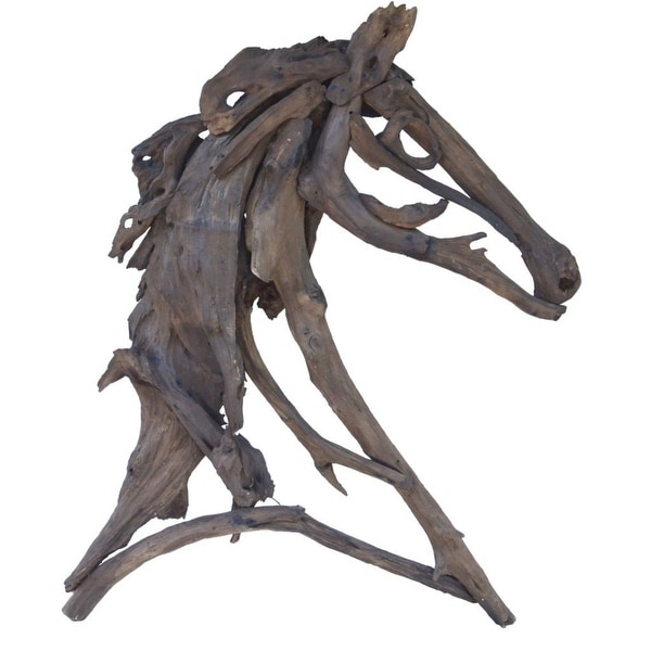 """39.25"""" Brown Traditional Style Decorative Equus Figure - N/A"""