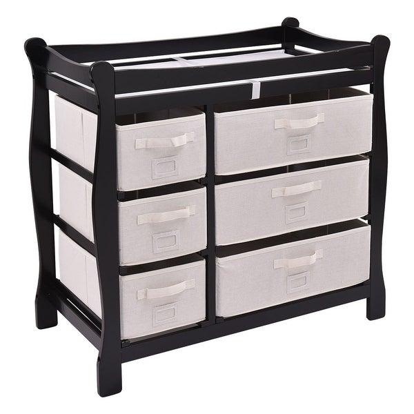 Costway Black Sleigh Style Baby Changing Table Diaper 6 Basket Drawer Storage Nursery