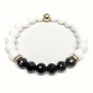 """White Jade Glow 7"""" Bracelet"""