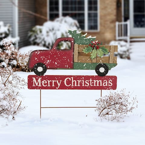 "Glitzhome 24""H Metal Wooden Christmas Truck Decor"