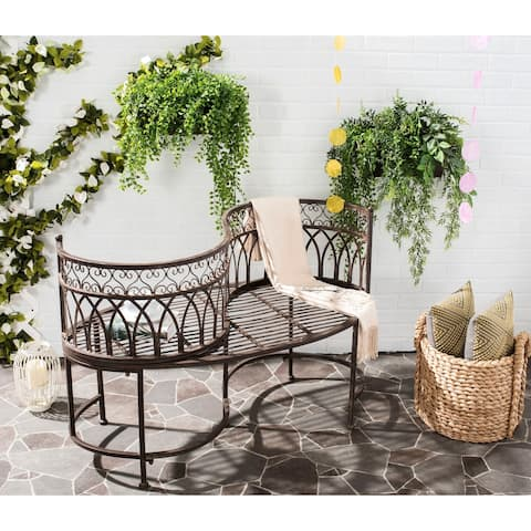 "Safavieh Outdoor Living Lara Victorian Scroll Iron Kissing Bench - 44"" x 24"" x 30.8"""