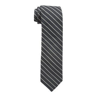 Calvin Klein NEW Black Gold Mens Pinstriped Shimmer Skinny Neck Tie
