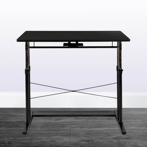 "Height Adjustable 39.25""W x 23.75""D x 27.25-35.75""H Sit to Stand Laptop Desk"
