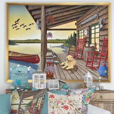 Designart 'Welcome to the Cabin' Lake House Framed Art Print