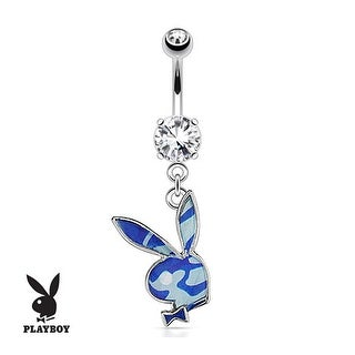 Playboy Bunny with Blue Camouflage Epoxy Dangle 316L Surgical Steel Navel Belly Button Ring
