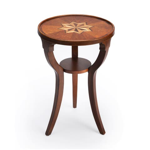 Handmade Round Wood Burl Accent Table
