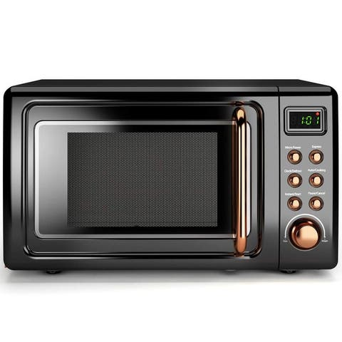 Costway 0.7Cu.ft Retro Countertop Microwave Oven 700W LED Display
