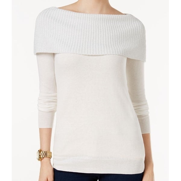 01582f118f Shop Michael Kors NEW White Ivory Women s XL Off-Shoulder Boat Neck Sweater  - Free Shipping On Orders Over  45 - Overstock - 18411662