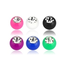 10 Pieces of Solid UV Clear Gem Acrylic Ball Pack - 14GA (4mm Ball)