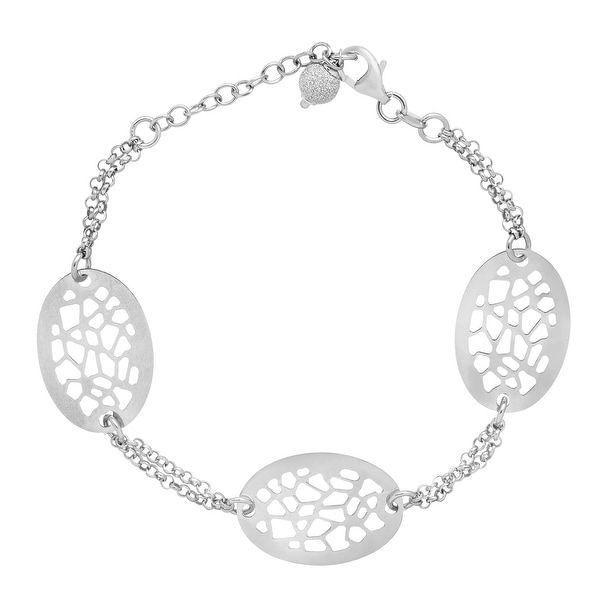 Oval Cut-Out Station Bracelet in Sterling Silver - White