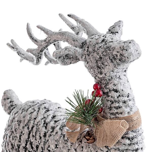 Shop Alpine Corporation Pinecone Reindeer Christmas Decor On Sale Overstock 23480153