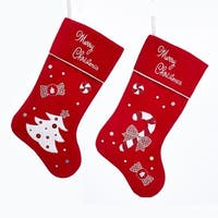 """Pack of 6 Red and White Candy Cane and Christmas tree stockings 20.5"""""""