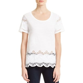 MICHAEL Michael Kors Womens Casual Top Slub Embroidered Lace
