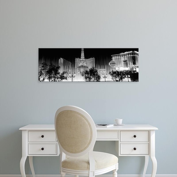 Easy Art Prints Panoramic Image 'Hotels in a city lit up at night, The Strip, Las Vegas, Nevada, USA' Canvas Art