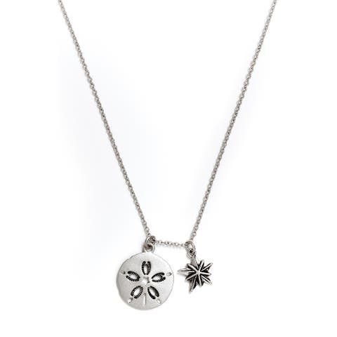 Sand Dollar Pendant Necklace, Silver Rhodium Plated