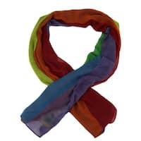 Colorful Rainbow Stripe Lightweight Long Shawl Scarf