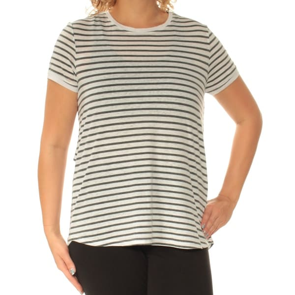 fe87ab96a Shop TOMMY HILFIGER Womens Black Striped Short Sleeve Crew Neck Top Size: L  - On Sale - Free Shipping On Orders Over $45 - Overstock.com - 23454427