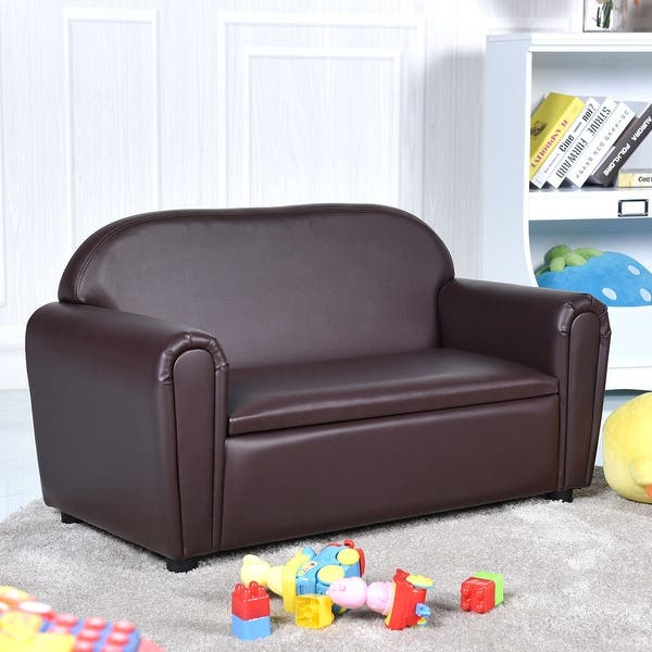 Gymax Kids Sofa Armrest Chair Lounge Couch Wood