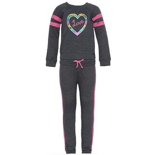 Little Girls Charcoal Rainbow Heart Applique Gym 2 Pc Pants Outfit 4