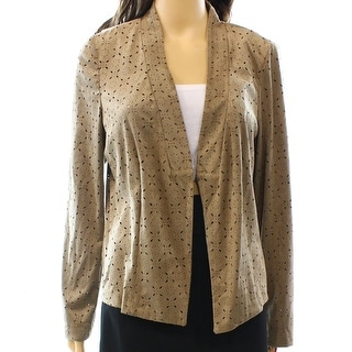 Alfani NEW Brown Perforated Women's Size Medium M Faux-Suede Jacket