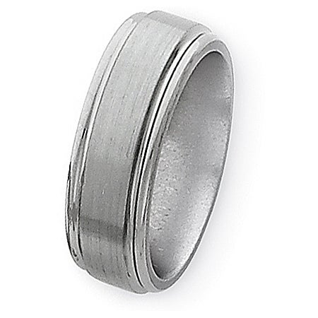 Chisel Grooved Edge Brushed and Polished Titanium Ring (8.0 mm)