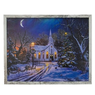 """19"""" White Distressed Frame LED Lighted Church Christmas Wall Canvas - N/A"""