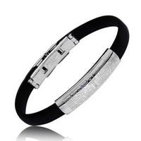 Padre Nuestro Our Lords Prayer Rubber Steel Bracelet 7.25in