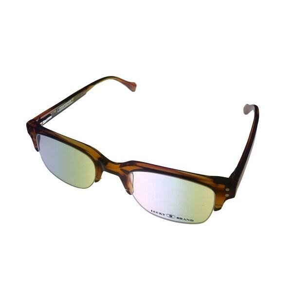 Lucky Brand Opthalmic Eyeglass Rectangle Bottom Rimless Plastic Valencia Brown - Medium
