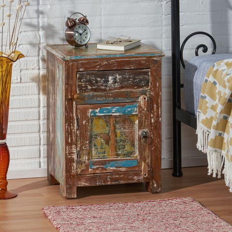 Offerman Indoor Wood Handcrafted Nightstand by Christopher Knight Home