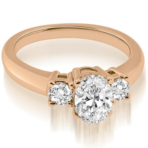 0.85 cttw. 14K Rose Gold Classic Basket 3 Stone Oval Diamond Engagement Ring
