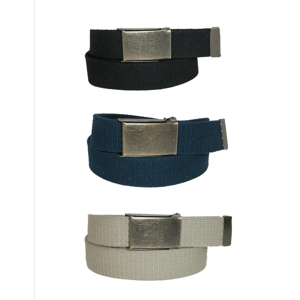 CTM® Men's Big & Tall Belt with Flip Top Brass Buckle (Pack of 3)