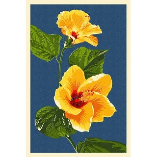 Yellow Hibiscus - Letterpress - LP Artwork (Cotton/Polyester Chef's Apron)