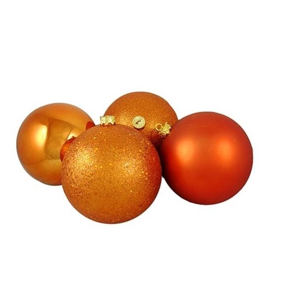 "4ct Burnt Orange Shatterproof 4-Finish Christmas Ball Ornaments 8"" (200mm)"