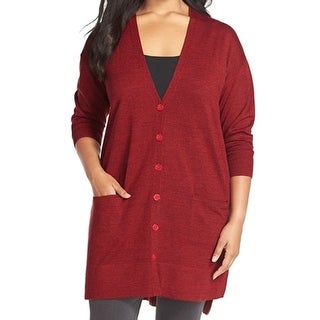 Sejour NORDSTROM NEW Red Women's Size 1X Plus Knit Cardigan Sweater