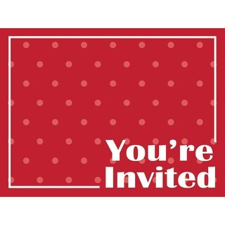 Club Pack of 48 Decorative Classic Red with Polka-Dot Postcard Party Invitations 6""