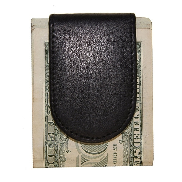Improving Lifestyles Leather Magnetic Money Clip Black with Organza Gift Bag SUN 2592 BK