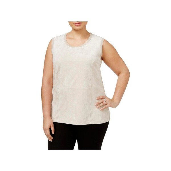 74a2c9d82bdc9e Shop Calvin Klein Womens Plus Tank Top Faux Suede Panel - 1X - Free ...