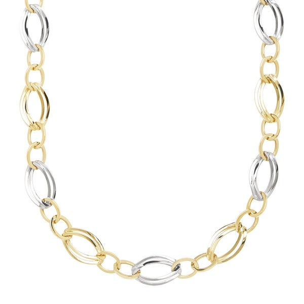 Double Oval Station Link Station Necklace in 14K Gold-Bonded Sterling Silver