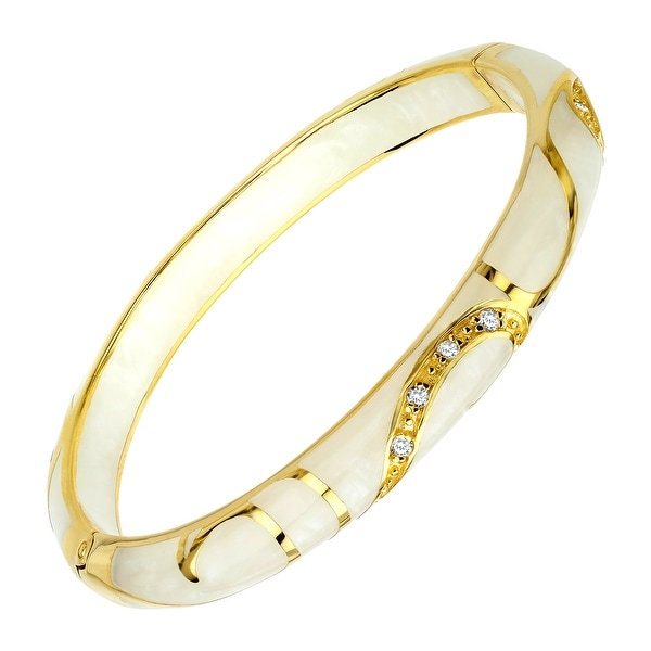 Cristina Sabatini Cream Flourish Bangle Bracelet in 14K Gold-Plated Sterling Silver