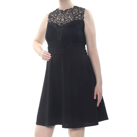 LOVE SQUARED Womens Black Lace Textured Sleeveless Above The Knee Party Dress Plus Size: 2X